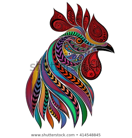 Black silhouette of cock. Rooster symbol 2017 Stock photo © orensila