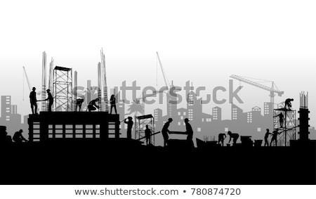silhouet · bouwplaats · werknemers · steiger · zonsondergang · hemel - stockfoto © 5xinc