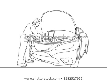 Repair shop Car on the lift mechanic working vector image Stock photo © vectorworks51