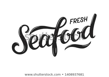 Foto d'archivio: Etichetta · design · parola · frutti · di · mare · illustrazione · sfondo