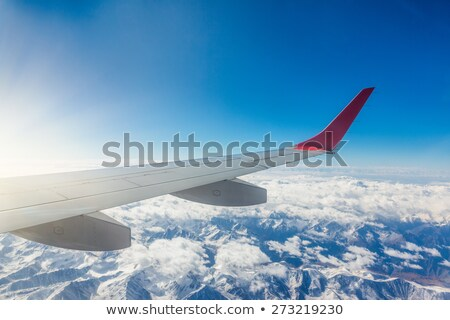 Mountain range of heights. View from the airplane Stock photo © Vanzyst