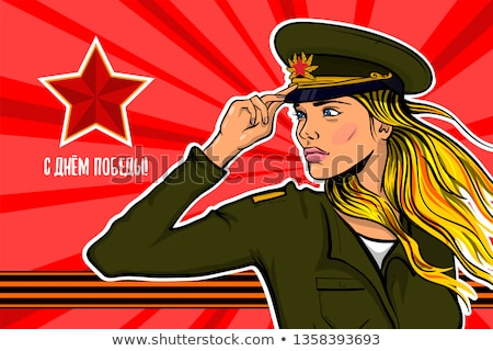 February 23. Beautiful girl in soldiers uniform. Military holida Stock photo © popaukropa