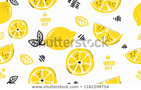 seamless background with slices of lemon vector illustration stock photo © kup1984