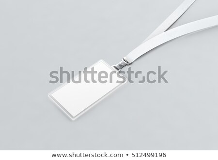 blank name bagde lace mockup 3d illustration plain empty namebadge mock up with cotton band stock photo © tussik
