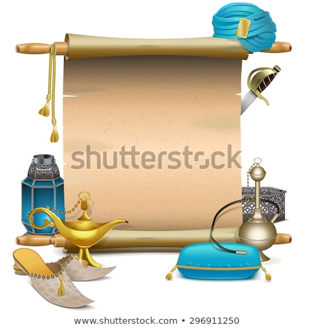 vector scroll with magic accessories stock photo © dashadima