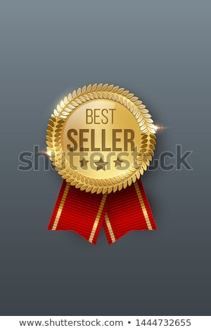 Rouge couleur vecteur attribution badge ruban Photo stock © fresh_5265954
