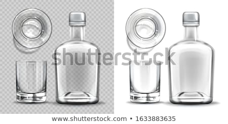 empty glass bottle set transparent flask on white background stock photo © maryvalery