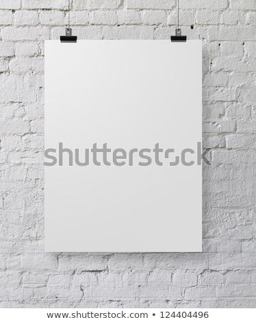 beyaz · boş · kağıt · duvar · poster · yukarı · şablon - stok fotoğraf © timurock