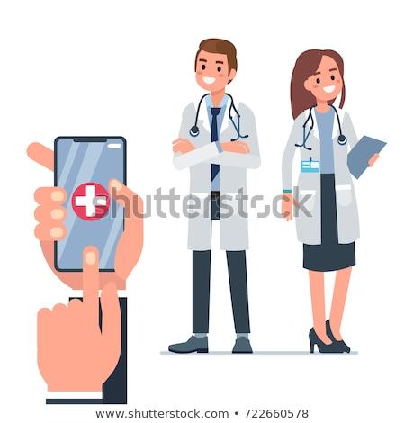 Medico femminile infermiera parlando smartphone cartoon Foto d'archivio © NikoDzhi