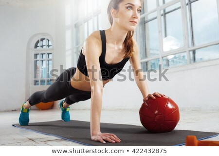 美しい スリム ブルネット 体操 ジム 小さな ストックフォト © master1305