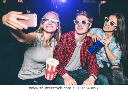 vrienden · kijken · film · theater · man · film - stockfoto © wavebreak_media