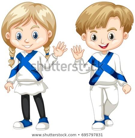 Finnish boy and girl waving hello Stock photo © bluering
