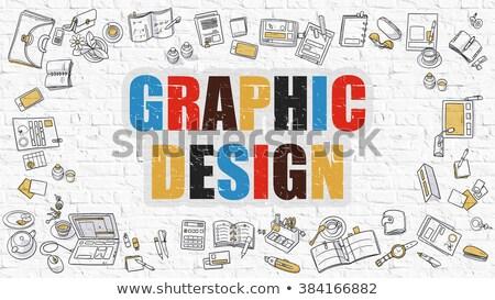 progettazione · di · siti · web · doodle · design · buio · muro - foto d'archivio © tashatuvango