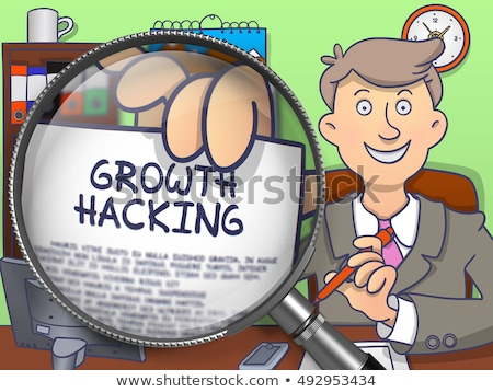 Growth Hacking through Magnifier. Doodle Style. Stock photo © tashatuvango