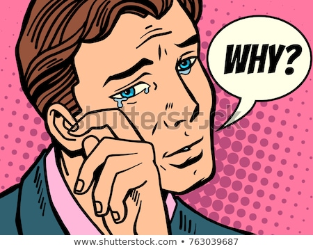 férfi · könnyek · képregény · rajz · pop · art · retro - stock fotó © rogistok