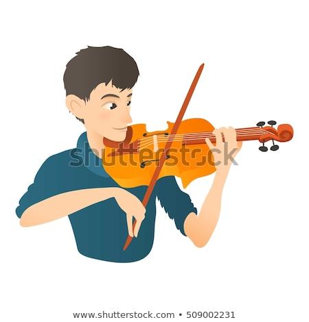 férfi · játszik · hegedű · színpad · vektor · terv - stock fotó © rastudio