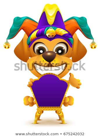 Fools day. Yellow dog sitting on throne Stock photo © orensila