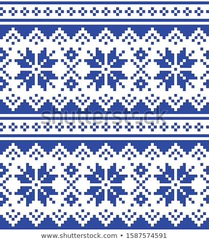 Lapland traditional folk art design, Sami vector seamless pattern, Scandinavian, Nordic background Stock photo © RedKoala
