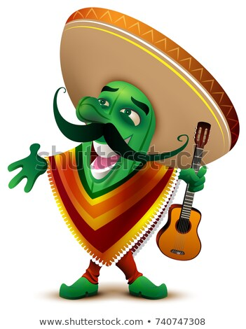 Green Mexican cactus in sombrero and poncho sings Stock photo © orensila