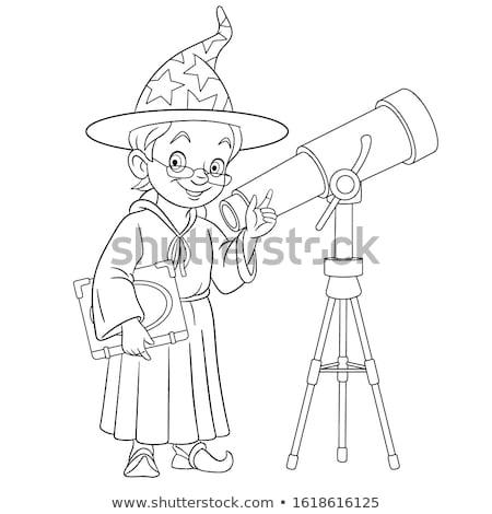 Gyerek fiú bűvész szín oldal feketefehér Stock fotó © lenm