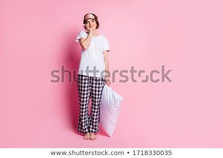 lány · ágy · portré · boldogság · bent · gyermekkor - stock fotó © IS2