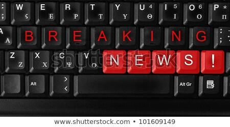 キーボード 青 ボタン ニュース速報 ノートパソコンのキーボード コンピュータのキーボード ストックフォト © tashatuvango