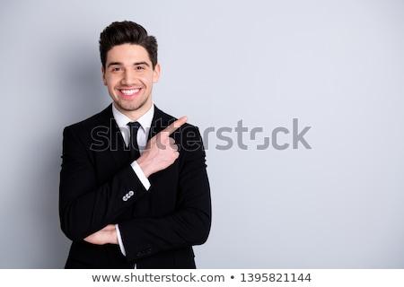 otimista · barbudo · homem · branco · camisas · indicação - foto stock © deandrobot