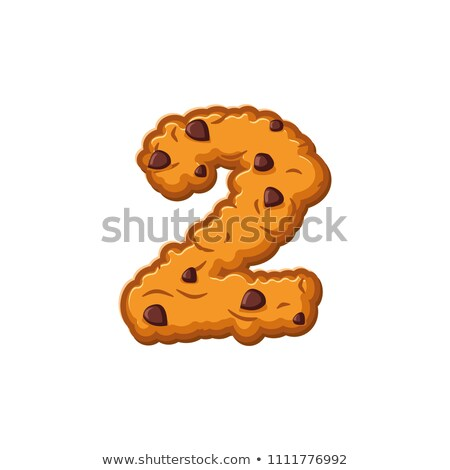 Number 2 cookies font. Oatmeal biscuit alphabet symbol two. Food Stock photo © popaukropa