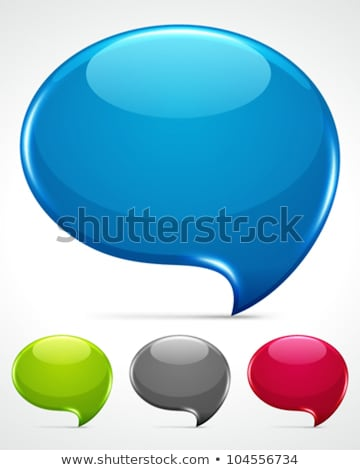 Stock photo: Blue glossy speech bubble