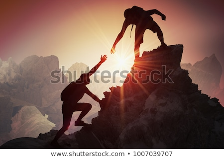 Stok fotoğraf: Teamwork Couple Climbing Hiking With Helping Hand