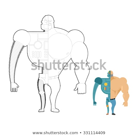 Set of Cyborgs. Robot in human body. Iron, metal skeleton of man Stock photo © popaukropa