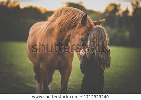 mooi · meisje · zwart · haar · paard · mooie · vrouw · blad - stockfoto © svetography