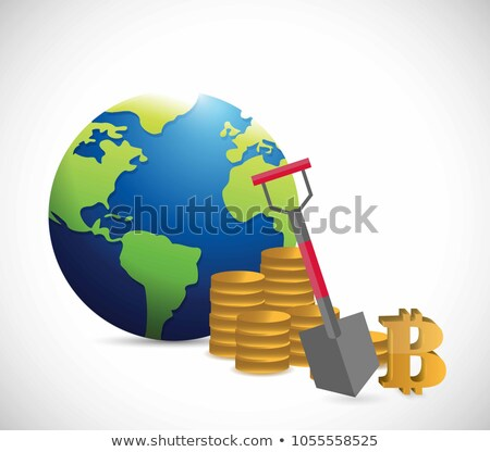 bitcoin, gold coins and shovel Illustrator. data mining Stock photo © alexmillos