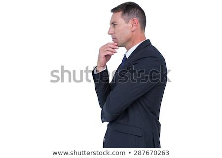Inteligente empresário pensando mão queixo maduro Foto stock © stokkete