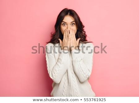 Bella giovani sorpreso donna guardando fotocamera Foto d'archivio © jaykayl