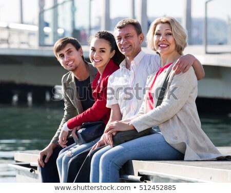 érett szülők fiatal pér jacht siker áll Stock fotó © IS2