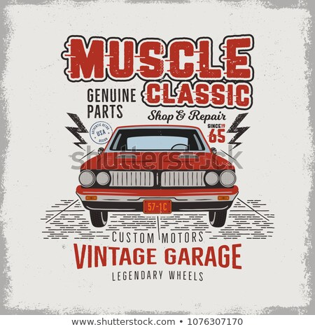 Vintage hand drawn classic muscle car t shirt design. Classic automobile poster with words - vintage Stock photo © JeksonGraphics