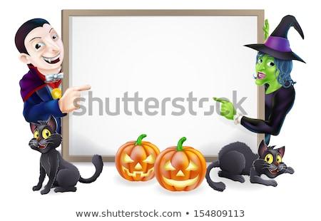 Desenho animado vampiro assinar ilustração feliz Foto stock © bennerdesign
