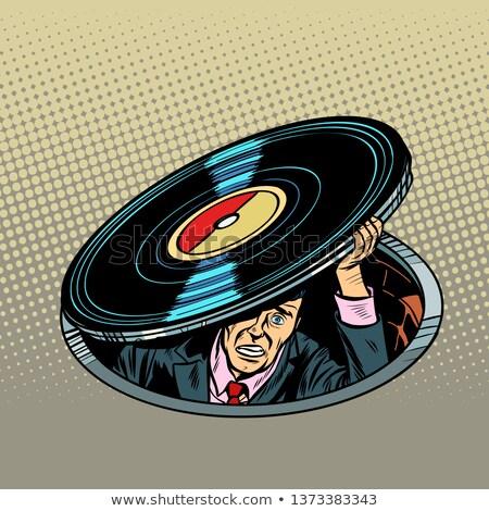 Man vinyl muziek audio pop art retro Stockfoto © studiostoks