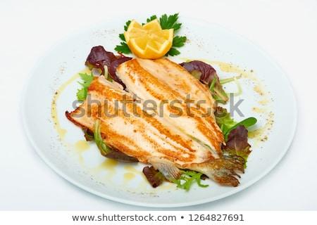 Zee bas citroen peterselie geïsoleerd witte Stockfoto © Antonio-S