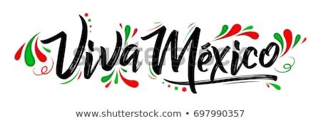 mexicano · bandera · vector · sol · mapa · verde - foto stock © marysan