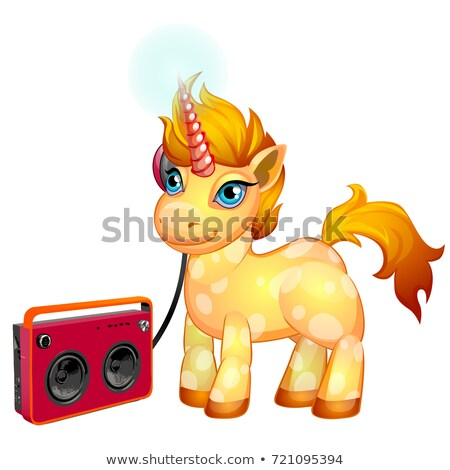 Cute unicorn pony with a fiery mane listening to music isolated on white background. Vector cartoon  Stock photo © Lady-Luck
