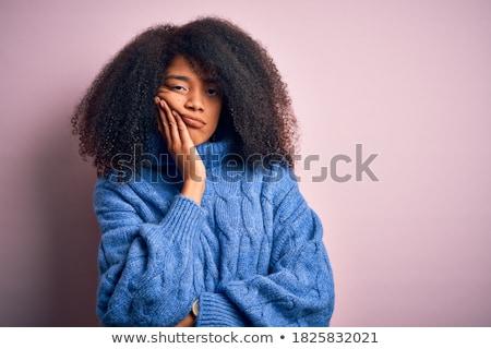 Ritratto sconvolto giovane ragazza maglione mal di testa isolato Foto d'archivio © deandrobot