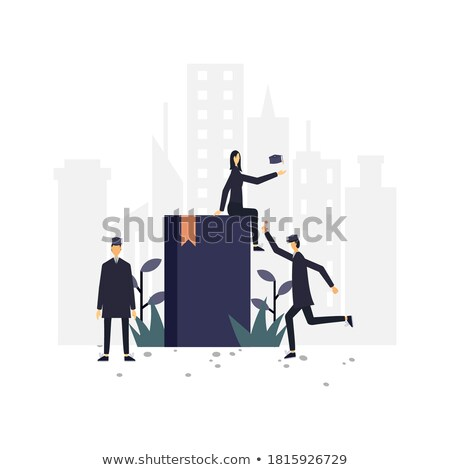Woman on Ladder Reading Article Vector Illustration Stock photo © robuart
