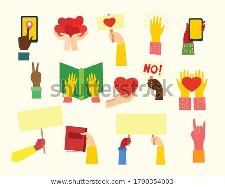 Ludzka ręka żółty papieru odizolowany biały plakat Zdjęcia stock © robuart