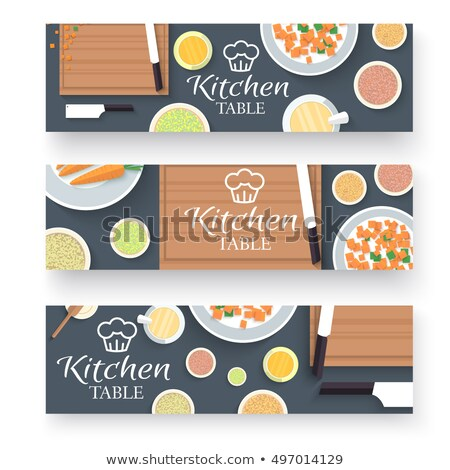 Keukentafel koken huis banners ontwerp voedsel Stockfoto © Linetale