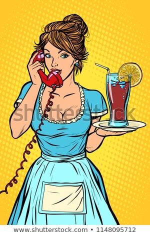 Cola citroen levering hotel dienst serveerster Stockfoto © rogistok