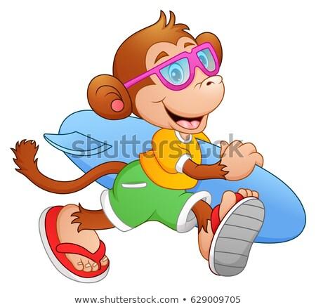 Karikatür gülen şempanze mayo hayvan grafik Stok fotoğraf © cthoman