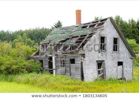 Houten huis arme voorwaarde illustratie home Stockfoto © colematt