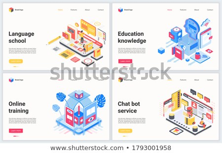 Chat bot banner concept for online learning language, vector illustration. Stock photo © ikopylov